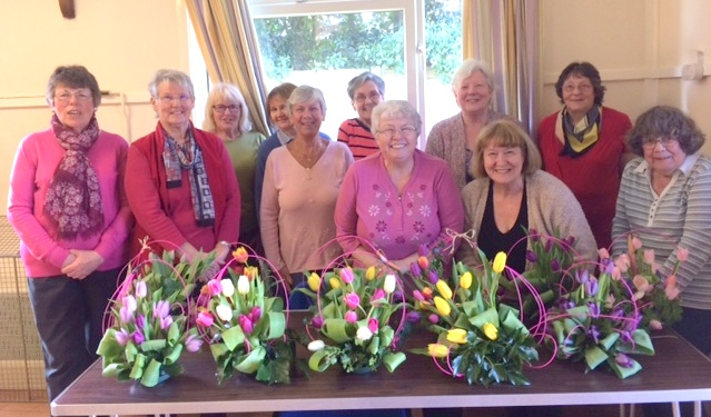 <p><br>	Some of our flower arrangers meeting together in Great Oakley Village Hall in 2017 to practice their art in an occasional group session.&nbsp;&nbsp;</p><br>